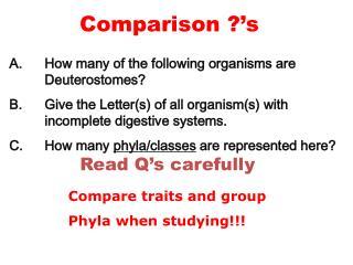 Comparison ?'s