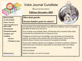 Votre Journal Cursilliste dioc se de Saint-J r me  ditions D cembre 2009