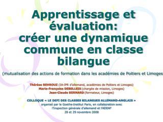 Apprentissage et  valuation: cr er une dynamique commune en classe bilangue  mutualisation des actions de formation dans