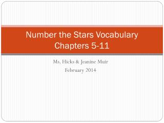 Number the Stars Vocabulary Chapters 5-11