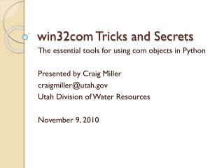 win32com Tricks and Secrets