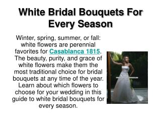 White Bridal Bouquets For Every Season