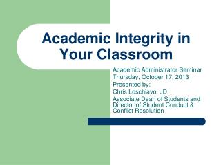Academic Integrity in Your Classroom