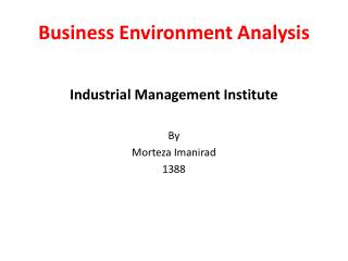 Business Environment Analysis