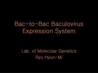 Bac-to-Bac Baculovirus Expression System