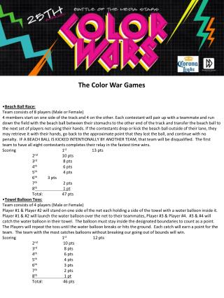 The Color War Games Beach Ball Race: Team consists of 8 players (Male or Female)