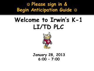 January 28, 2013 6:00 – 7:00