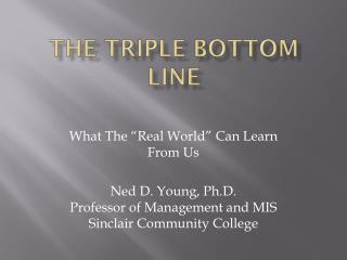 The Triple bottom Line