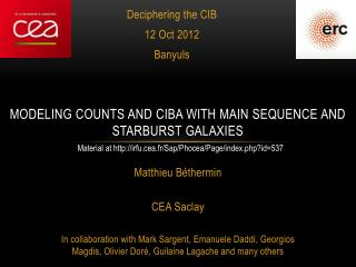 MODELING COUNTS AND CIBA WITH MAIN SEQUENCE AND STARBURST GALAXIES