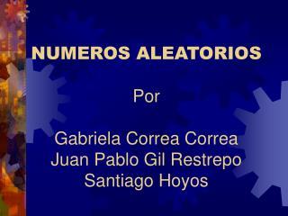 NUMEROS ALEATORIOS Por Gabriela Correa Correa Juan Pab