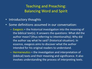 Teaching and Preaching:  Balancing Word and Spirit