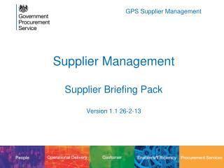 Supplier Management Supplier Briefing Pack Version  1.1 26-2-13