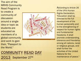 Community Read Day 2013