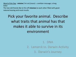 DNA Lamarck vs. Darwin Activity Darwin's Journey