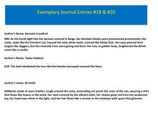 Exemplary Journal Entries #18 & #20
