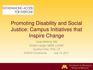Promoting Disability and Social Justice: Campus Initiatives that Inspire Change