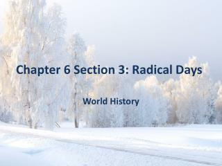 Chapter 6 Section 3: Radical Days