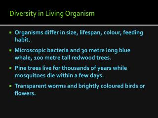 Diversity in Living Organism