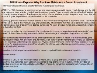 Bill Hionas Explains Why Precious Metals Are a Sound Investm