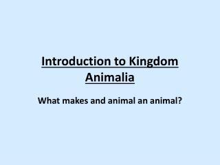 Introduction to Kingdom  Animalia