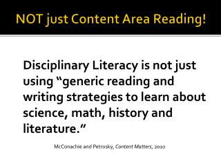 NOT just Content Area Reading!