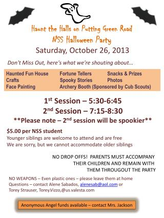 Haunt the Halls on Putting Green Road NSS Halloween Party