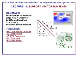 LECTURE  15:  SUPPORT VECTOR MACHINES