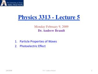 Physics 3313 - Lecture 5
