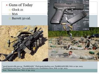 Guns of Today Glock  21 M16 Barrett 50 cal.