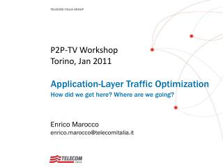 P2P-TV Workshop Torino, Jan 2011