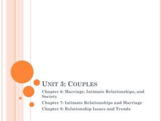 Unit 3: Couples