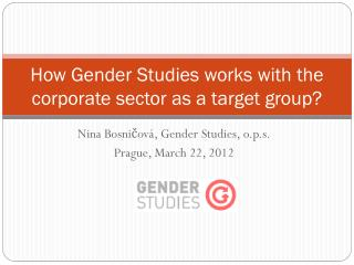 How Gender Studies works with the corporate sector as a target group?