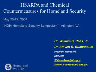 HSARPA and Chemical Countermeasures for Homeland Security