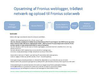 Opsætning af  Fronius  weblogger, trådløst netværk og  opload  til  Fronius solar.web