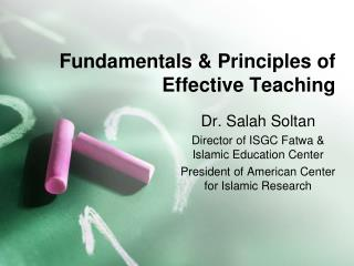 Fundamentals & Principles of Effective Teaching