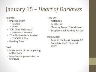 January 15 –  Heart of Darkness