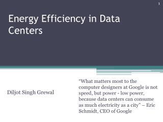 Energy Efficiency in Data Centers