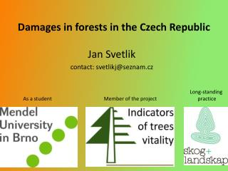 Damages in  forests  in  the  Czech Republic