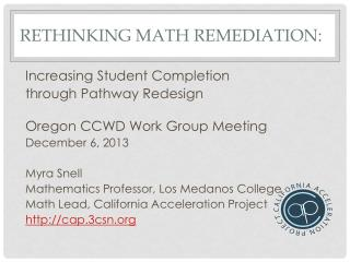 Rethinking  Math Remediation :