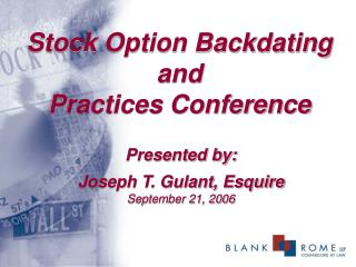 Stock Option Backdating and Practices Conference