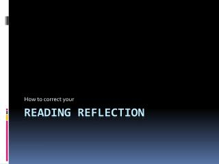 Reading Reflection