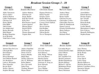 Breakout Session Groups 1 - 10