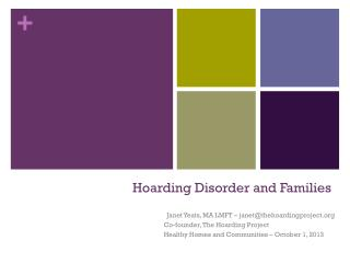 Hoarding Disorder and Families