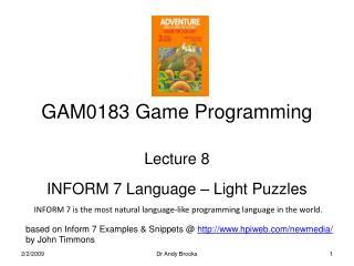 GAM0183 Game Programming