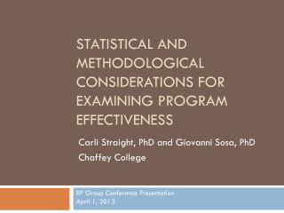 Statistical and methodological considerations for examining program effectiveness
