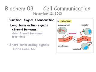 Biochem 03  Cell Communication November  12, 2010
