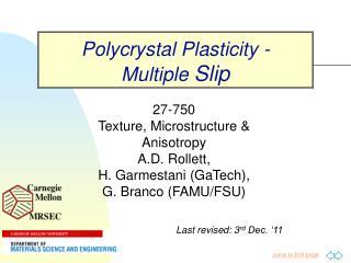 Polycrystal Plasticity - Multiple  Slip