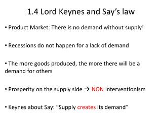 1.4  Lord Keynes and Say's law