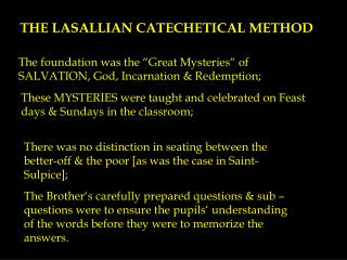 THE LASALLIAN CATECHETICAL METHOD