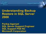 Understanding Backup Restore in SQL Server 2000  Pankaj Agarwal SQL Server Support Engineer SQL Support PSS NC Microsoft